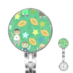 Football Kids Children Pattern Stainless Steel Nurses Watch by Nexatart