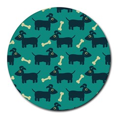 Happy Dogs Animals Pattern Round Mousepads
