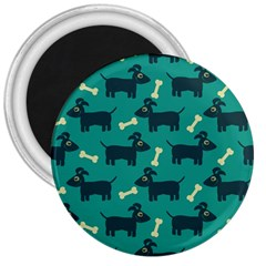 Happy Dogs Animals Pattern 3  Magnets by Nexatart