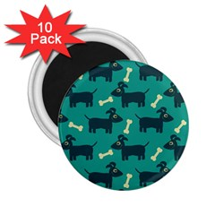 Happy Dogs Animals Pattern 2 25  Magnets (10 Pack)  by Nexatart