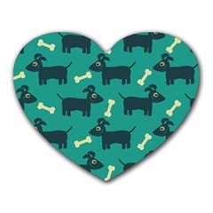 Happy Dogs Animals Pattern Heart Mousepads