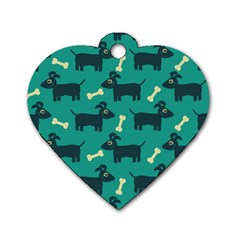 Happy Dogs Animals Pattern Dog Tag Heart (one Side) by Nexatart