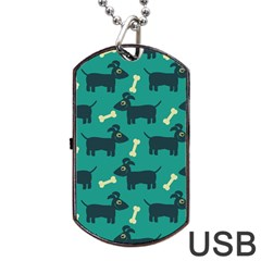 Happy Dogs Animals Pattern Dog Tag Usb Flash (one Side) by Nexatart