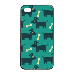 Happy Dogs Animals Pattern Apple Iphone 4/4s Seamless Case (black)