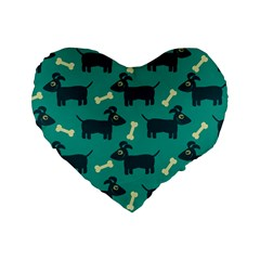 Happy Dogs Animals Pattern Standard 16  Premium Heart Shape Cushions
