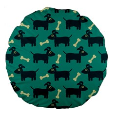 Happy Dogs Animals Pattern Large 18  Premium Flano Round Cushions by Nexatart