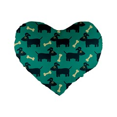 Happy Dogs Animals Pattern Standard 16  Premium Flano Heart Shape Cushions by Nexatart