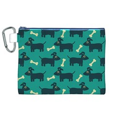 Happy Dogs Animals Pattern Canvas Cosmetic Bag (xl) by Nexatart