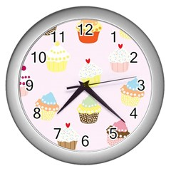 Seamless Cupcakes Wallpaper Pattern Background Wall Clocks (silver)  by Nexatart