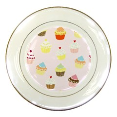 Seamless Cupcakes Wallpaper Pattern Background Porcelain Plates by Nexatart