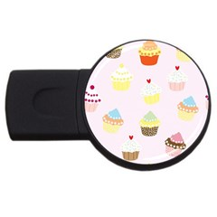 Seamless Cupcakes Wallpaper Pattern Background Usb Flash Drive Round (4 Gb) by Nexatart
