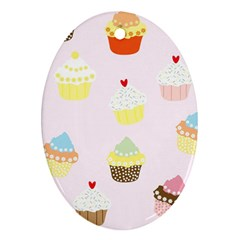 Seamless Cupcakes Wallpaper Pattern Background Oval Ornament (two Sides) by Nexatart