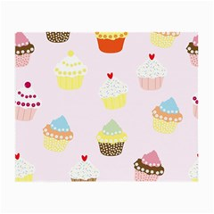 Seamless Cupcakes Wallpaper Pattern Background Small Glasses Cloth (2 Side)