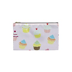 Seamless Cupcakes Wallpaper Pattern Background Cosmetic Bag (small)
