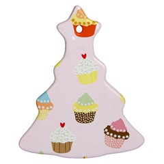 Seamless Cupcakes Wallpaper Pattern Background Ornament (christmas Tree)