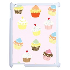 Seamless Cupcakes Wallpaper Pattern Background Apple Ipad 2 Case (white) by Nexatart