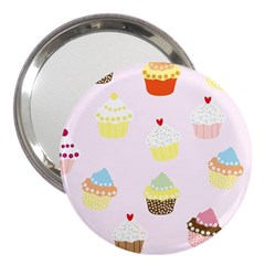 Seamless Cupcakes Wallpaper Pattern Background 3  Handbag Mirrors by Nexatart