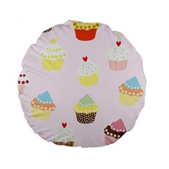 Seamless Cupcakes Wallpaper Pattern Background Standard 15  Premium Round Cushions