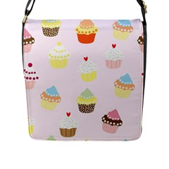 Seamless Cupcakes Wallpaper Pattern Background Flap Messenger Bag (l)  by Nexatart