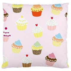 Seamless Cupcakes Wallpaper Pattern Background Large Flano Cushion Case (one Side)