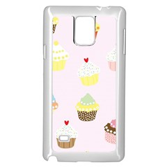 Seamless Cupcakes Wallpaper Pattern Background Samsung Galaxy Note 4 Case (white) by Nexatart