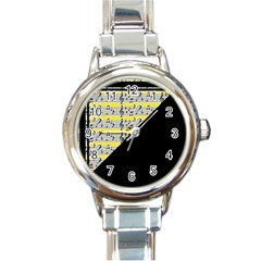 Note Abstract Paintwork Round Italian Charm Watch by Nexatart
