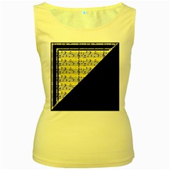 Note Abstract Paintwork Women s Yellow Tank Top