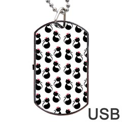 Cat Seamless Animals Pattern Dog Tag Usb Flash (two Sides)