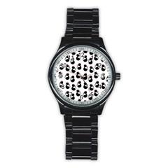 Cat Seamless Animals Pattern Stainless Steel Round Watch by Nexatart