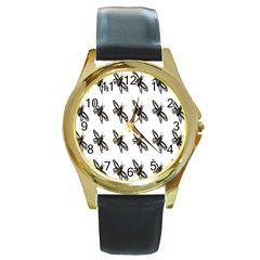 Insect Animals Pattern Round Gold Metal Watch