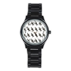 Insect Animals Pattern Stainless Steel Round Watch