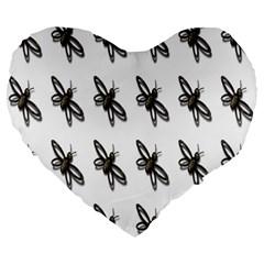 Insect Animals Pattern Large 19  Premium Flano Heart Shape Cushions by Nexatart