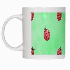 Pretty Background With A Ladybird Image White Mugs by Nexatart
