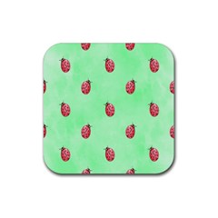 Pretty Background With A Ladybird Image Rubber Square Coaster (4 Pack)  by Nexatart