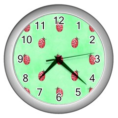 Pretty Background With A Ladybird Image Wall Clocks (silver)  by Nexatart
