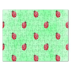 Pretty Background With A Ladybird Image Rectangular Jigsaw Puzzl by Nexatart