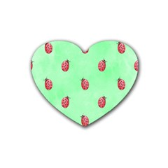 Pretty Background With A Ladybird Image Rubber Coaster (heart)  by Nexatart