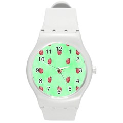 Pretty Background With A Ladybird Image Round Plastic Sport Watch (m)