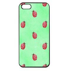 Pretty Background With A Ladybird Image Apple Iphone 5 Seamless Case (black)