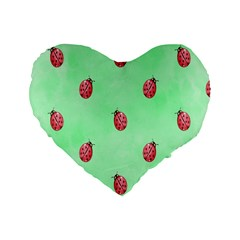 Pretty Background With A Ladybird Image Standard 16  Premium Heart Shape Cushions