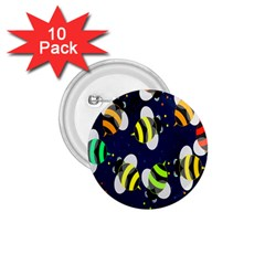 Bees Cartoon Bee Pattern 1 75  Buttons (10 Pack)