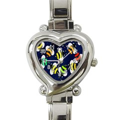 Bees Cartoon Bee Pattern Heart Italian Charm Watch