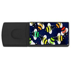 Bees Cartoon Bee Pattern Usb Flash Drive Rectangular (4 Gb) by Nexatart
