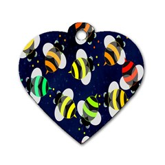 Bees Cartoon Bee Pattern Dog Tag Heart (two Sides) by Nexatart