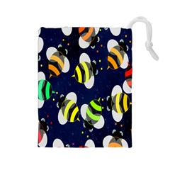 Bees Cartoon Bee Pattern Drawstring Pouches (large)  by Nexatart
