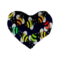 Bees Cartoon Bee Pattern Standard 16  Premium Flano Heart Shape Cushions by Nexatart