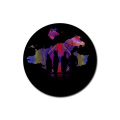 Abstract Surreal Sunset Rubber Coaster (round)  by Nexatart