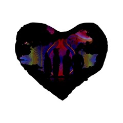 Abstract Surreal Sunset Standard 16  Premium Flano Heart Shape Cushions by Nexatart