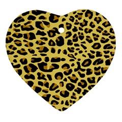 A Jaguar Fur Pattern Heart Ornament (two Sides) by Nexatart