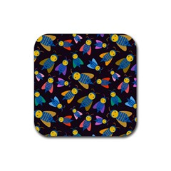 Bees Animal Insect Pattern Rubber Square Coaster (4 Pack)  by Nexatart